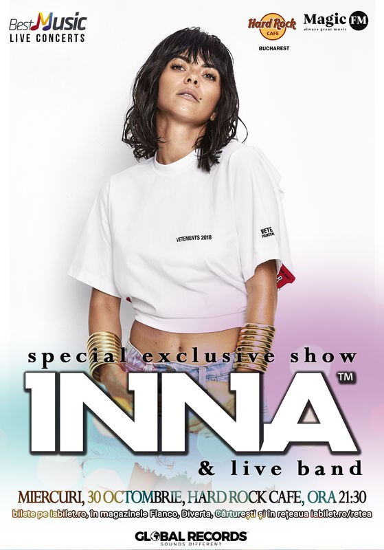 INNA – show special exclusiv la Hard Rock Cafe pe 30 Octombrie